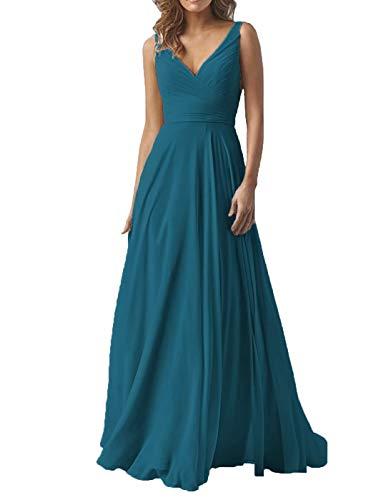 Elegant Mother of Bride Groom Dresses for Wedding Long V-Neck Chiffon Formal Evening Party Gown for Women 2019 Teal Blue (Best Mother Of The Groom Dresses 2019)