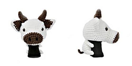Amimono Cow Driver Golf Head Cover White/Dark Brown 460cc [並行輸入品] B0784NSB8V