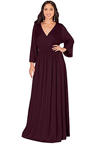 KOH KOH Womens Long Kimono Sleeve with Sleeves Wrap Fall Winter Empire Waist Flowy Casual Formal Cute Maternity Robe Abaya Gowns Gown Maxi Dress Dresses, Mulberry Wine Red L 12-14 (1)