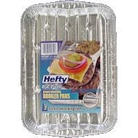 Hefty EZ Foil 91855 8-Inch x 11.25-Inch x 1-Inch Miracle Broiler Pans Grease Absorbing (Pack of 3)