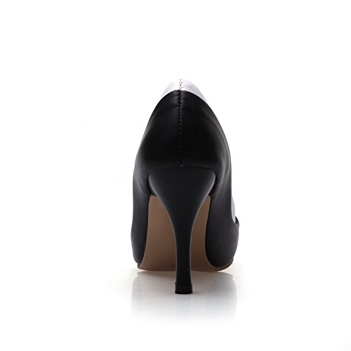 balamasa Ladies pointed-toe Varios colores pantalones imitado Piel pumps-shoes Negro - negro