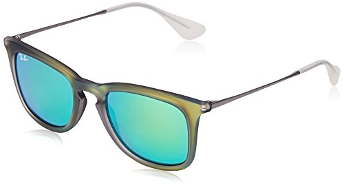 104f60789b7 Ray-Ban INJECTED MAN SUNGLASS - SHOT GREEN RUBBER Frame LIGHT GREEN MIRROR  GREEN Lenses