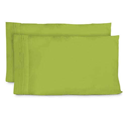 Cosy House Collection Pillowcases Standard Size - Lime Green Luxury Pillow Case Set of 2 - Fits Queen Size Pillows - Premium Super Soft Hotel Quality - Cool & Wrinkle Free - Hypoallergenic (Lime Pillows Bed Green)