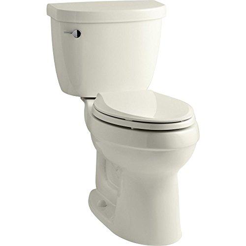 (KOHLER K-3609-96 Cimarron Comfort Height Elongated 1.28 gpf Toilet with AquaPiston Technology, Less Seat, Biscuit)