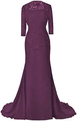 b4458c1a1996c4 Women's Chiffon Long Mother of The Bride Dresses with Jacket Beaded Lace  Evening Party Gown