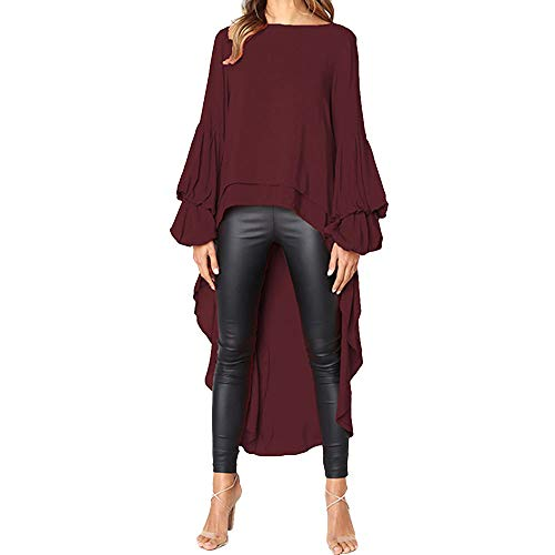 (AfterSo Tops Puff Sleeve Asymmetric Long Blouse Shirts Womens Ladies...)