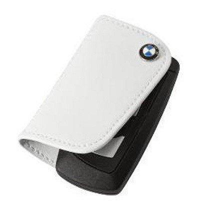 BMW Genuine Stylish Nappa Leather Contrast Key Case 3 H X 1.5 W White
