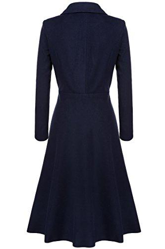 Extra Pardessus Automne Fit Femme Manteaux Slim Solide Hiver Coat Elegant Trench mymotto Long Bleu xa0qwBAvBW