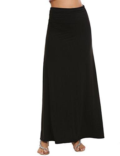 Black Knit Skirt (Zeagoo Womens Maxi Skirt Fold over Waist Long Skirt, Black, Large)