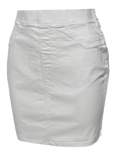 (Awesome21 Casual Elastic Waist Band Mini Denim Skirt White L)