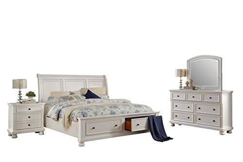 - Liverpool Cottage 4PC Bedroom Set Cal King Sleigh Storage Bed, Dresser, Mirror, Nightstand in White