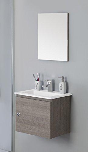 Mobile arredo bagno cm 50 sospeso moderno con un anta e lavabo in ...