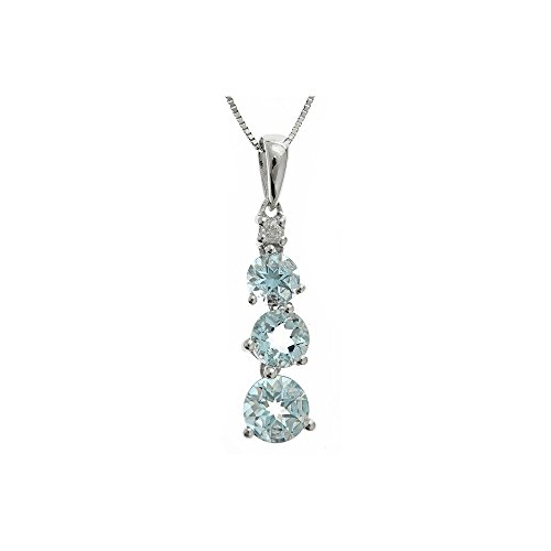 Gin and Grace Sterling Silver Round-cut Aquamarine and Diamond Accent Pendant by Gin and Grace