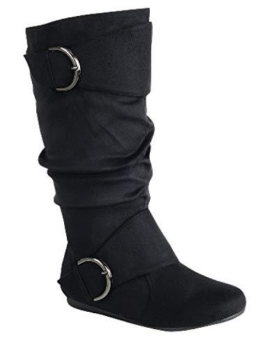 Womens Flat Heel Zipper Buckle Slouchy Mid-Calf Knee High Boot Shoes Size