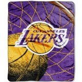 NBA Officially Licensed LA Lakers Royal Plush Raschel Fleece Throw Blanket