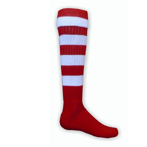 Red Lion Hoop Rugby Striped Athletic Sports Knee High Socks (Red / White - La...