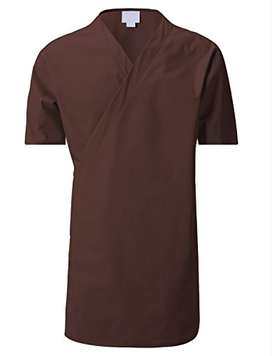 7 Encounter 7Encounter Unisex Multifunctional Short Sleeves Wrap Smock Brown Size L/XL Wrap Around Smock