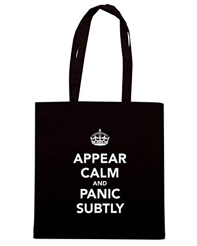 Speed Shirt Borsa Shopper Nera TKC3487 APPEAR CALM AND PANIC SUBTLY
