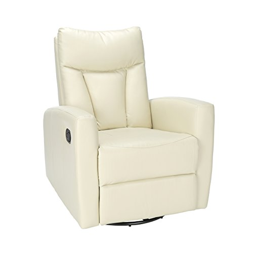 Contemporary Recliner (Monarch Specialties Ivory Bonded Leather Swivel Glider Recliner)