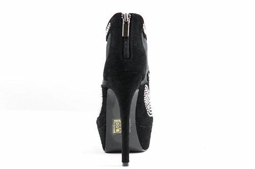 Dame Couture Damesmode Schoenen Zwart Glamour Piepklein Enkellaarsje