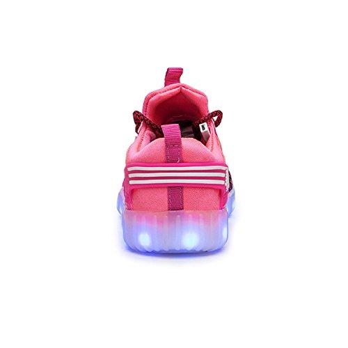 H-Mastery Unisex LED 7 Colores de Luces con USB de Carga Primavera-Verano-Otoño Transpirables calzado deportivo para los Niños y los Adolescentes púrpura