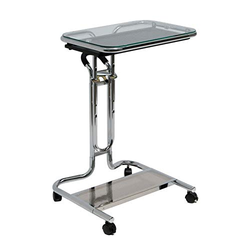 Price comparison product image MRT SUPPLY Calico Portable Rolling Glass Laptop Desk Cart with Mouse Tray with Ebook
