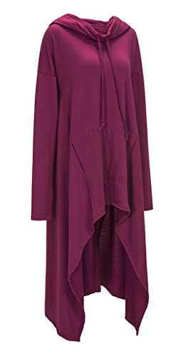 Manche Femme Violet Top Mode Long shirt Robe Longue Bigood Capuche Sweat Casual T shirt Pull RanfH