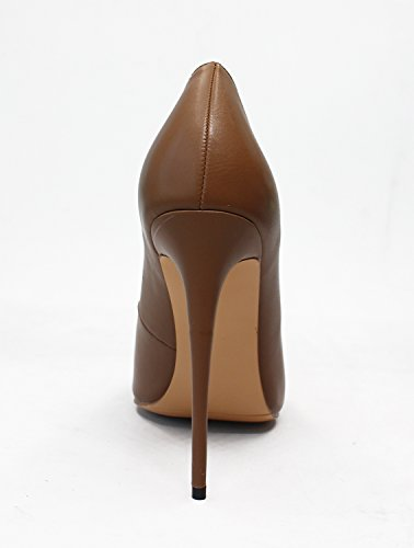 Guoar Dames Stiletto Big Size Schoenen Puntige Teen Dames Solide Pumps Voor Werkkleding Party B-coffee