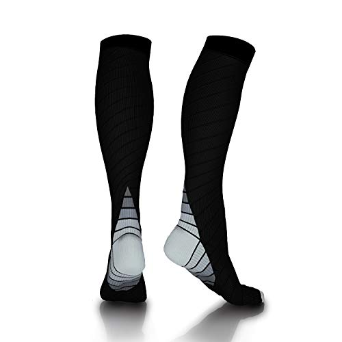 Compression Socks 20-30mmHg for Men & Women Best for Running, Athletic, Travel, Medical, Pregnancy, Edema, Varicose Veins, Shin Splints - Gray