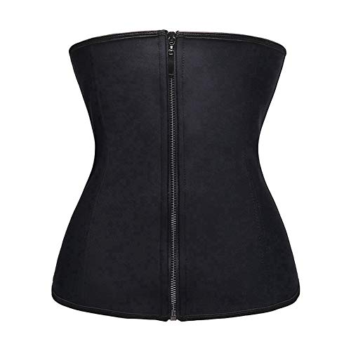Women Latex Waist Trainer Body Shaper with Zipper Hot Shapers Cincher Corset Black