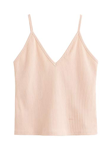 SheIn Women's Casual V Neck Sleeveless Ribbed Knit Cami Crop Top ()
