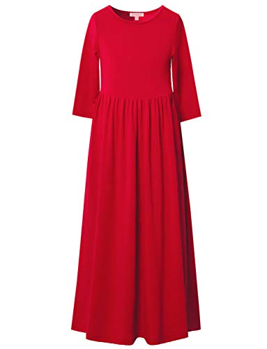 Red Maxi Dresses for Girls 10 12 Long Dress for Kids Christmas Church Dress,10-11Y/ Height- 57inch