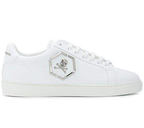 Philipp Plein Zapatillas de Piel Para Hombre Blanco Bianco