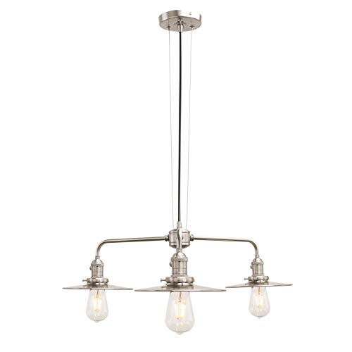 Phansthy 3 Light Chandelier Light Brushed Nickel Industrial Semi-Flush Ceiling Light with Three 7.87 Lamp Shade
