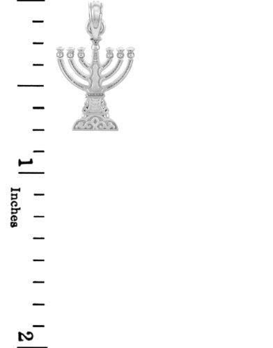 "Petits Merveilles D'amour - 14 ct 585/1000 Juif Gold - Or Blanc ""Menorah"" Petit Pendentif"