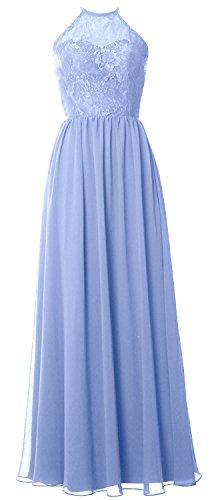 MACloth Women Halter Long Bridesmaid Dress 2017 Lace Wedding Party Formal Gown Cielo azul