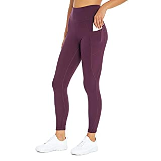 Jessica Simpson Sportswear Tummy Control Pocket Ankle Legging, BlackBerry Wine, Small