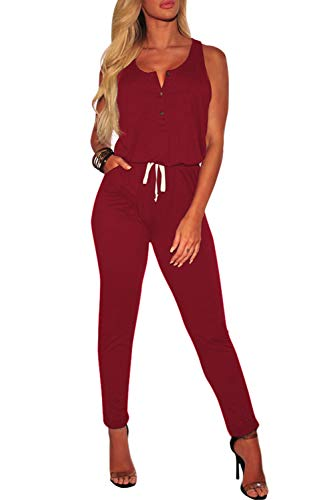 Fixmatti Women Sleeveless Tank Top Jogger Long Pant Casual Jumpsuits Maroon S Button Down Sleeveless Jersey