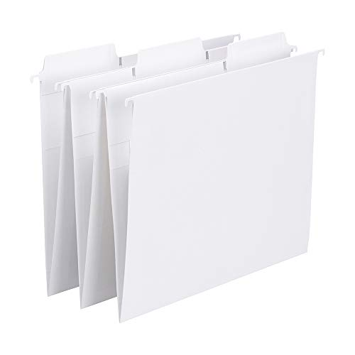 - Smead FasTab Hanging File Folder, 1/3-Cut Built-in Tab, Letter Size, White, 20 per Box (64002)
