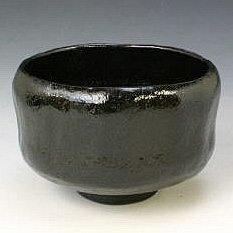 Kiyomizu-kyo yaki ware. Japanese kuro raku Matcha chawan teabowl with paper box. Ceramic. kymz-TSK358