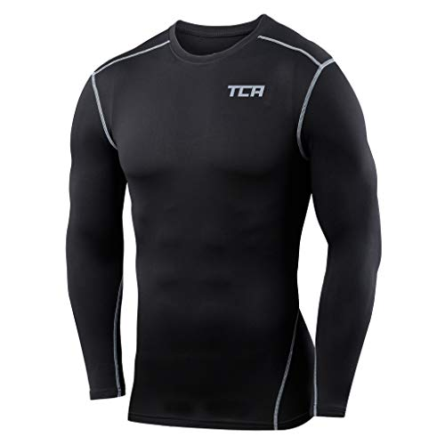 Boys TCA Pro Performance Compression Shirt Long Sleeve Base Layer Thermal Top - Black, M