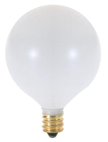 Satco A3925 130V Candelabra Base 25-Watt G16.5 Light Bulb, Satin White - 130v G16.5 Candelabra Base