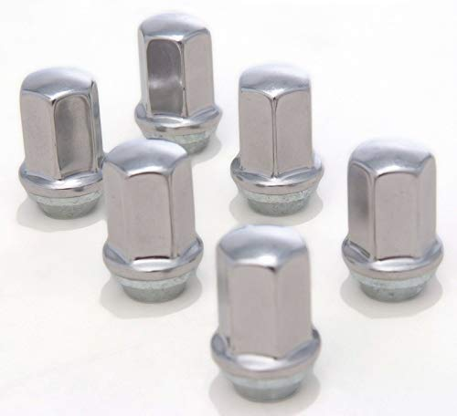 EZDealin 6 Piece Stainless Steel Polished 14x1.5 OEM Factory Style Replacement Lug Nuts fits 2000-2019 Chevy Silverado Tahoe Suburban Avalanche 1500 Trucks SUVs Wheel Nut - Nut Lug Suburban