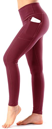 Women's High Waist Yoga Pants with Side & Inner Pockets Tummy Control Workout Running 4 Way Stretch Sports Leggings (XXL, Wine Red)
