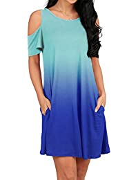 50c495808bce0 Women s Cold Shoulder Tunic Top T-Shirt Swing Dress with Pockets