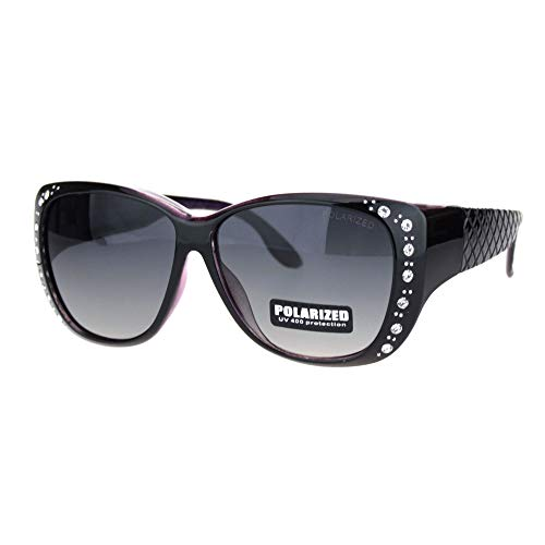 (SA106 Polarized 55mm Fit Over OTG Butterfly Rhinestone Diva Sunglasses Black)