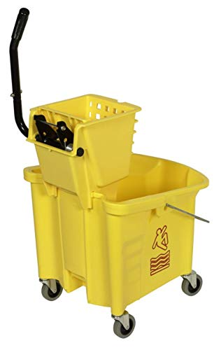Continental 335-312YW Yellow 35 Quart Splash Guard Mop Bucket with SW12 Side-Press Wringer