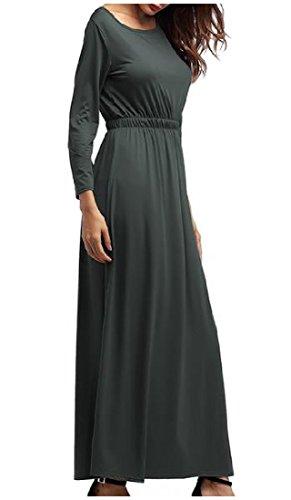 Tendance De Crewneck Des Femmes Coolred Accepter La Taille Grande Fête Ourlet Gris Robe Longue