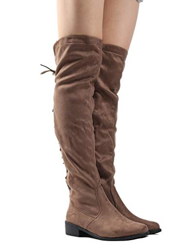 (LUSTHAVE Women's Knee High Flat Boots Lace Up Cushioned Lining Drawstring Tall Western Riding Boots Dark Taupe 9)