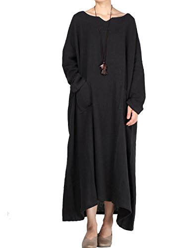 (Mordenmiss Women's Plus Size Maxi Dress V-Neck Heavy Caftans with Pockets Black)